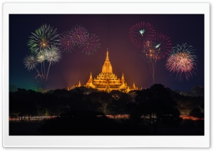Golden Pagoda, Fireworks HD Wide Wallpaper for 4K UHD Widescreen desktop & smartphone