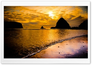 Golden Sea Sunset HD Wide Wallpaper for Widescreen