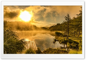 Golden Sunrise at Natural Lake HD Wide Wallpaper for Widescreen