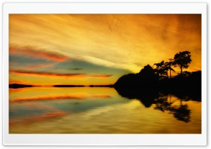 Golden Sunrise Reflection HD Wide Wallpaper for Widescreen