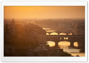 Golden Sunset Over Florence, Italy HD Wide Wallpaper for 4K UHD Widescreen desktop & smartphone