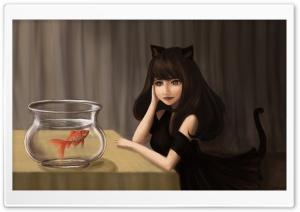 Goldfish Bowl Painting Art Ultra HD Wallpaper for 4K UHD Widescreen desktop, tablet & smartphone