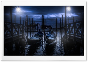 Gondolas in Venice at Night HD Wide Wallpaper for Widescreen