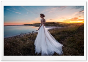Gorgeous Bride in a Beautiful Dress, Evening, Outdoor, Nature HD Wide Wallpaper for 4K UHD Widescreen desktop & smartphone