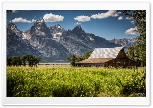 Grand Teton from Mormon Row Historic District HD Wide Wallpaper for Widescreen