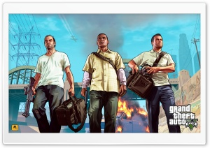 Grand Theft Auto V - Franklin, Michael & Trevor HD Wide Wallpaper for Widescreen