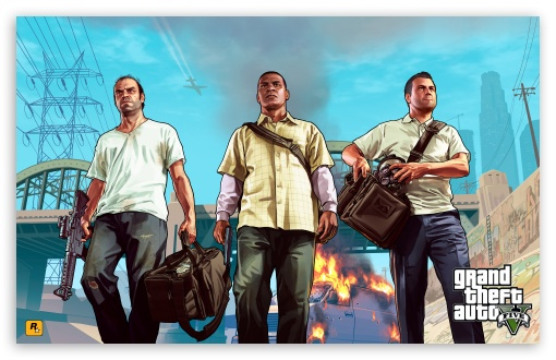 Grand Theft Auto V - Franklin, Michael & Trevor HD wallpaper for Wide 16:10 5:3 Widescreen WHXGA WQXGA WUXGA WXGA WGA ; HD 16:9 High Definition WQHD QWXGA 1080p 900p 720p QHD nHD ; Mobile 5:3 16:9 - WGA WQHD QWXGA 1080p 900p 720p QHD nHD ;