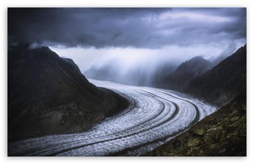 Download Great Aletsch Glacier, Swiss Alps Mountain Range HD Wallpaper