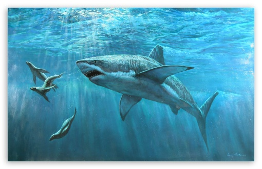 Great White Shark Painting HD wallpaper for Wide 16:10 5:3 Widescreen WHXGA WQXGA WUXGA WXGA WGA ; HD 16:9 High Definition WQHD QWXGA 1080p 900p 720p QHD nHD ; MS 3:2 DVGA HVGA HQVGA devices ( Apple PowerBook G4 iPhone 4 3G 3GS iPod Touch ) ; Mobile WVGA iPhone PSP - WVGA WQVGA Smartphone ( HTC Samsung Sony Ericsson LG Vertu MIO ) HVGA Smartphone ( Apple iPhone iPod BlackBerry HTC Samsung Nokia ) Sony PSP Zune HD Zen ;