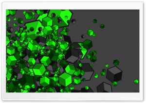 Green Cubes HD Wide Wallpaper for Widescreen
