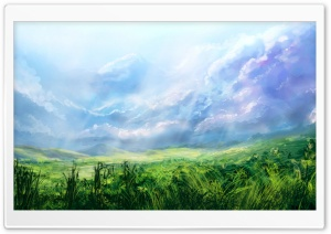 Green Field Painting HD Wide Wallpaper for Widescreen