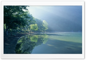 Green Lake In Forest HD Wide Wallpaper for Widescreen