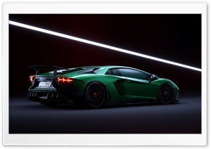 Green Lamborghini Aventador SuperVeloce Supercar Ultra HD Wallpaper for 4K UHD Widescreen desktop, tablet & smartphone