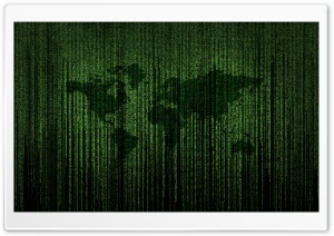 Green Matrix Code World Map HD Wide Wallpaper for Widescreen