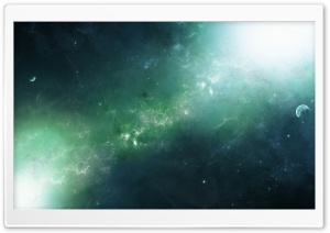 Green Nebula HD Wide Wallpaper for Widescreen