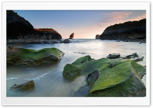 Green Rocks Beach HD Wide Wallpaper for Widescreen
