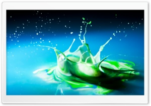 Green Splash HD Wide Wallpaper for Widescreen