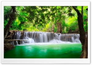Green Tropical Waterfall HD Wide Wallpaper for Widescreen