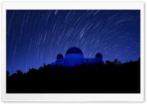 Griffith Observatory at Night, Star Trails HD Wide Wallpaper for 4K UHD Widescreen desktop & smartphone