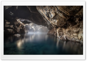 Grjotagja cave, Thermal Spring, Iceland HD Wide Wallpaper for Widescreen