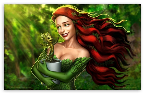 Download Groot and Poison Ivy UltraHD Wallpaper