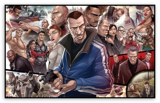 GTA 4 Characters HD wallpaper for Wide 16:10 5:3 Widescreen WHXGA WQXGA WUXGA WXGA WGA ; Mobile 5:3 - WGA ;