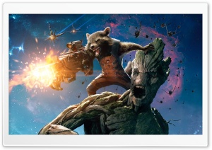 Guardians Of The Galaxy Groot And Rocket Raccoon HD Wide Wallpaper for 4K UHD Widescreen desktop & smartphone
