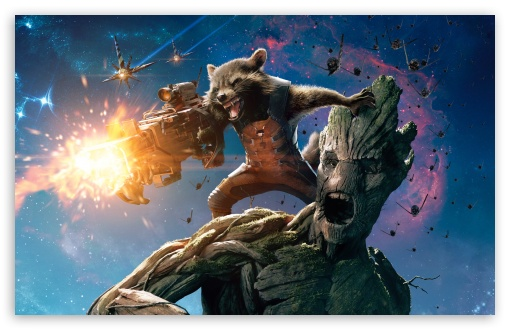 Guardians Of The Galaxy Groot And Rocket Raccoon HD desktop wallpaper