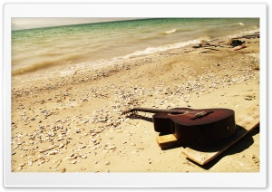 Guitar On The Beach HD Wide Wallpaper for 4K UHD Widescreen desktop & smartphone