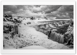 Gullfoss waterfall, Iceland, Winter, Black and White HD Wide Wallpaper for 4K UHD Widescreen desktop & smartphone