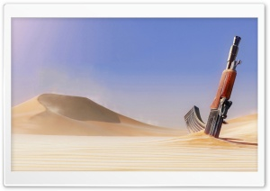 Gun in Sand HD Wide Wallpaper for Widescreen
