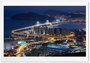 Gwangan Bridge, Busan, South Korea HD Wide Wallpaper for 4K UHD Widescreen desktop & smartphone