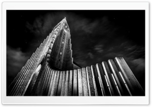 Hallgrimskirkja, Largest Church in Iceland, Black and White HD Wide Wallpaper for 4K UHD Widescreen desktop & smartphone