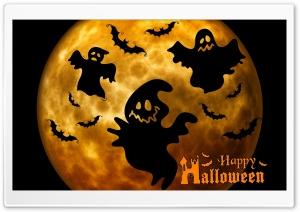 Halloween Ghosts Night Orange HD Wide Wallpaper for 4K UHD Widescreen desktop & smartphone