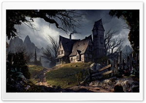 Halloween Haunted House Ultra HD Wallpaper for 4K UHD Widescreen desktop, tablet & smartphone