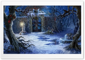 Halloween Haunted House Gates Ultra HD Wallpaper for 4K UHD Widescreen desktop, tablet & smartphone