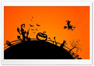 Halloween Holiday Orange Background HD Wide Wallpaper for 4K UHD Widescreen desktop & smartphone
