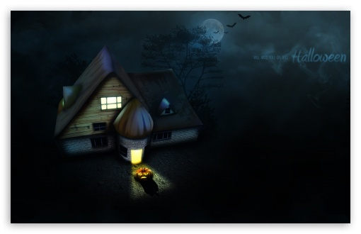 Halloween House HD wallpaper for Wide 16:10 5:3 Widescreen WHXGA WQXGA WUXGA WXGA WGA ; HD 16:9 High Definition WQHD QWXGA 1080p 900p 720p QHD nHD ; MS 3:2 DVGA HVGA HQVGA devices ( Apple PowerBook G4 iPhone 4 3G 3GS iPod Touch ) ; Mobile VGA WVGA iPhone iPad PSP - VGA QVGA Smartphone ( PocketPC GPS iPod Zune BlackBerry HTC Samsung LG Nokia Eten Asus ) WVGA WQVGA Smartphone ( HTC Samsung Sony Ericsson LG Vertu MIO ) HVGA Smartphone ( Apple iPhone iPod BlackBerry HTC Samsung Nokia ) Sony PSP Zune HD Zen ; Tablet 1&2 Android ; Dual 5:4 QSXGA SXGA ;