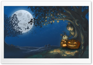 Halloween, Jack-o-lanterns, Talking Tree, Full Moon Ultra HD Wallpaper for 4K UHD Widescreen desktop, tablet & smartphone