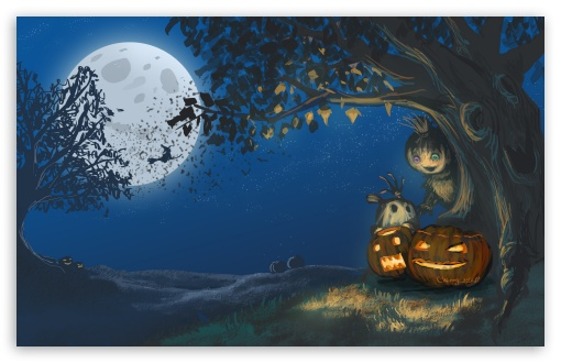 Download Halloween, Jack-o-lanterns, Talking Tree,... UltraHD Wallpaper