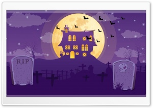 Halloween Night, Full Moon, Haunted House, Graveyard Ultra HD Wallpaper for 4K UHD Widescreen desktop, tablet & smartphone