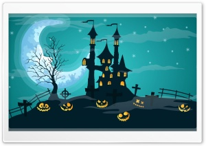 Halloween Night, Haunted Castle, Jack-O-Lanterns Ultra HD Wallpaper for 4K UHD Widescreen desktop, tablet & smartphone