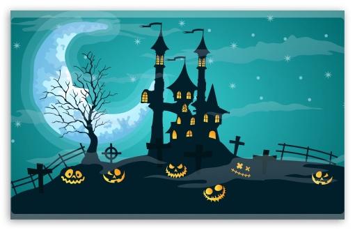 Halloween Night, Haunted Castle, Jack-O-Lanterns UltraHD Wallpaper for Wide 16:10 5:3 Widescreen WHXGA WQXGA WUXGA WXGA WGA ; 8K UHD TV 16:9 Ultra High Definition 2160p 1440p 1080p 900p 720p ; Mobile 5:3 16:9 - WGA 2160p 1440p 1080p 900p 720p ;