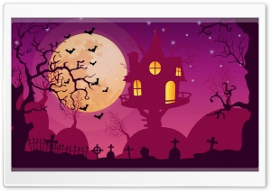 Halloween Night, Haunted House, Full Moon, Bats Ultra HD Wallpaper for 4K UHD Widescreen desktop, tablet & smartphone