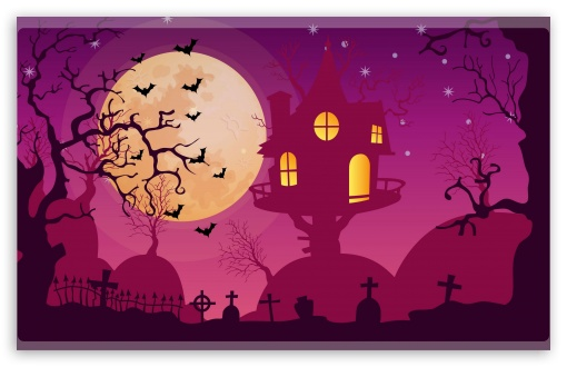 Halloween Night, Haunted House, Full Moon, Bats UltraHD Wallpaper for Wide 16:10 5:3 Widescreen WHXGA WQXGA WUXGA WXGA WGA ; 8K UHD TV 16:9 Ultra High Definition 2160p 1440p 1080p 900p 720p ; Mobile 5:3 16:9 - WGA 2160p 1440p 1080p 900p 720p ;
