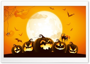 Halloween Pumpkins Background Ultra HD Wallpaper for 4K UHD Widescreen desktop, tablet & smartphone