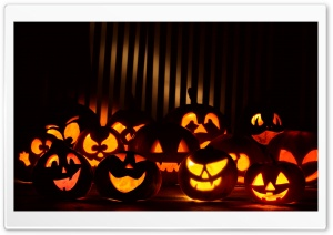 Halloween Pumpkins In The Dark HD Wide Wallpaper for 4K UHD Widescreen desktop & smartphone