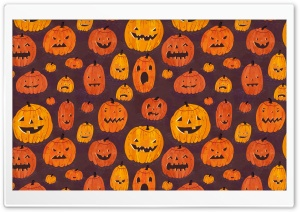 Halloween Pumpkins Pattern HD Wide Wallpaper for 4K UHD Widescreen desktop & smartphone