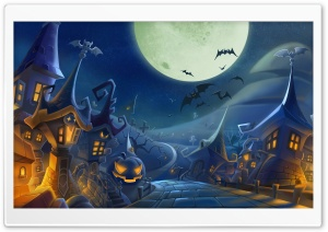 Halloween Spooky Night Full Moon HD Wide Wallpaper for 4K UHD Widescreen desktop & smartphone