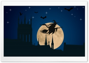 Halloween Witch Flying HD Wide Wallpaper for Widescreen
